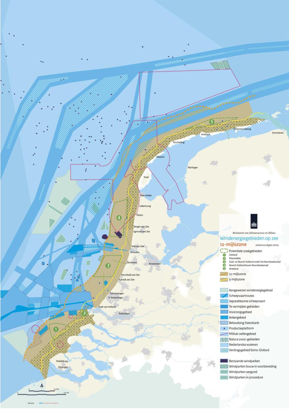 Mogelijke locaties windmolens binnen 12-mijlszone